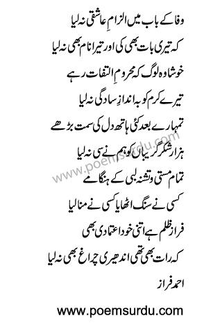 Wafa Ke Baab Mein Ilzam e Aashiqi Na Liya