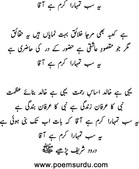 Ye Sab Tumhara Karam Hai Aaqa Lyrics