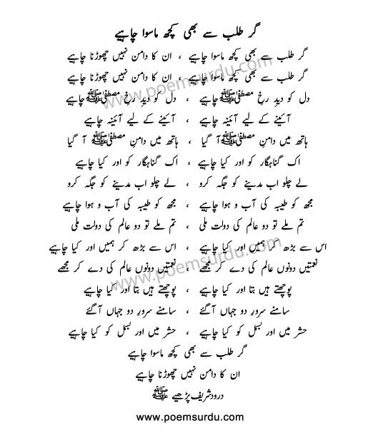 Gar Talab Se Bhi Kuch Ma Siwa Chahiye Lyrics
