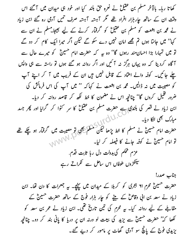 Karbala Essay in Urdu