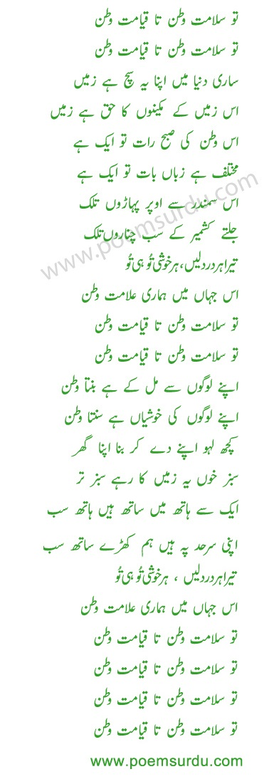 Tu Salamat Watan Lyrics in Urdu