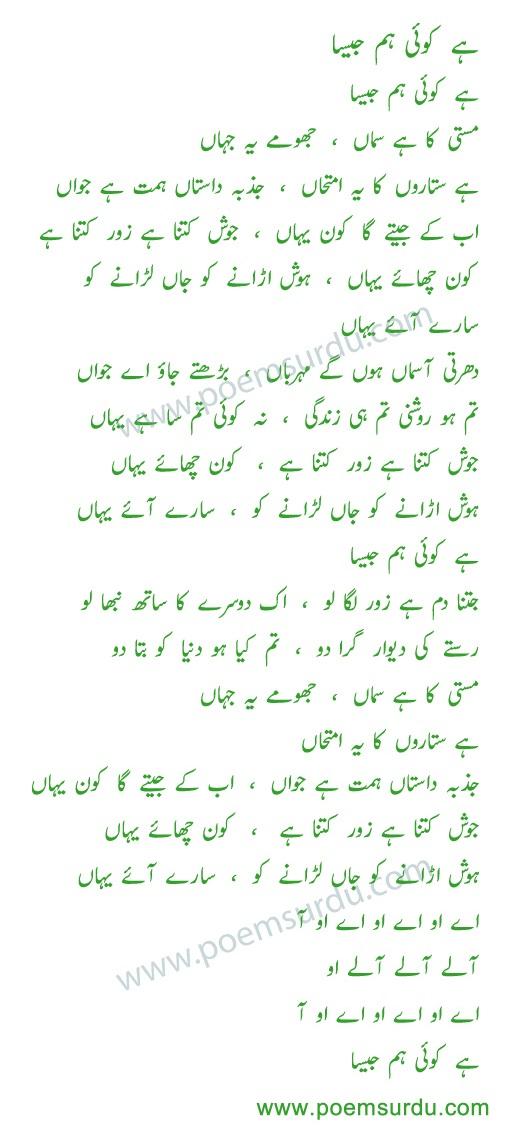 hai koi hum jaisa lyrics in Urdu